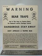 Skull Vintage Pa Game Commission Warning Bear Traps Set Area Sign 10 X 8 In.
