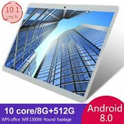 10.1 Wifi Tablet Hd 8/10+512gb Tablet Android 8.0 Hd 10 Core Gps Dual Camera Us