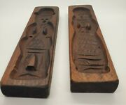 Pair Of Hand Carved Wooden Dutch Couple Biscuit Cookie Speculaas Springerle Mold