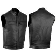 Defyandtrade Soa Menand039s Motorcycle Club Leather Vest Concealed Carry Arms Solid Back