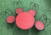 Vtg Childs Ice Cream Parlor Wrought Iron And Wood Table And Chairs Will Ship