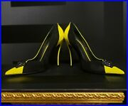 Versace Yellow Patent Leather And Black Suede Medusa Buckles Pump Shoes 39.5-9.5