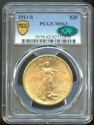 1911 S 20 Saint Gaudens Gold Double Eagle Ms 63 Cac Pcgs Better Date Rrae Cac