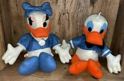 Vintage Large Donald Duck And Daisy Duck Stuffed Plush Figures Disney Very Rare