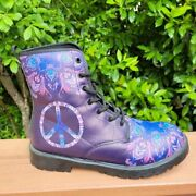 Yes We Vibe Psychedelic Doc Martin Style Boots Eu 39 Peace Festival Boho Concert