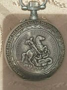 Antique Swiss Pocket Watch With Saint George And Dial With Old Automobile. Rare