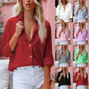 Womens Baggy Cotton Linen Shirts Button Up V Neck Tops Ladies Long Sleeve Blouse