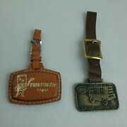 Lot Of 2 Vintage Advertising Watch Fobs Leather And Brass Gm Diesel And Sullair Corp