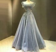 Sexy Gowns Evening Dresses Blue A Line Flowers Crystal Beading Tulle Candy Color