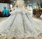 Ball Gown Evening Dress 3d Petal Flowers Tulle Long Sleeves O Neck Beaded Pearls
