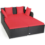 Patiojoy Outdoor Patio Rattan Daybed Thick Pillows Cushioned Sofa Furniture Red