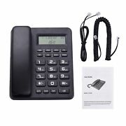 Black Corded Telephone Wired Desk Landline Phone With Lcd Display Caller Id/ca I