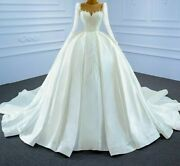 Wedding Dress Transparent Lace Sweetheart Collar Pearl Beaded Organza Ruched New