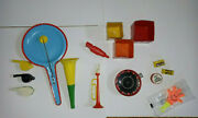Vintage Toys Elgo Plastic And Tin Noisemakers Dragnet Whistle, Horn, Roulette Lot