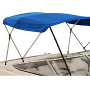 Boat Bimini Top 3 Bow 72l 36h 79-84w With Boot And Rear Support Poles Blue