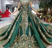 Party Dress Green Golden Laced High Neck Cap Sleeves Crystal Pleat Appliques New