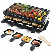 Electric Raclette Table Grill, Indoor Smokeless Grill, Family Barbecue, 8 Mini G