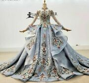 Colorful Ball Gowns Dress Crystal Appliques Long Sleeve High Neck Pearls Beading