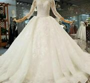 Muslim Wedding Gowns Dress O Neck Long Sleeve Floral Print Pleat Organza Lace Up