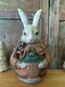 Paper Mache Easter Bunny Country Grubby Primitive Rabbit W Basket Redware Eggs