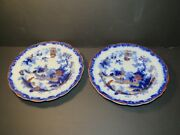 Pair Of Patent Ironstone China Flow Blue Bowls