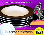 5 Pagnossin Treviso Crate And Barrel Normandy Cobalt Blue Soup Pasta Plate Bowl.