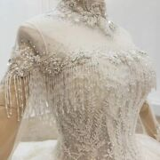 Wedding Party Dress High Neck Illusion Appliques With Transparent Tassel Organza