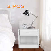 2 Set Of Nightstand Side Table End Solid Wood W/drawer Home Bedroom Furniture