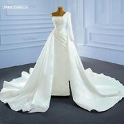 Wedding Bride Gown Dress White One Shoulder Backless Pearl Beads Removable Skirt