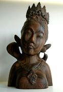 Vintage Balinese Carving Sono Bust Of A Woman Hand Carved Wood Statue Bali 11.5