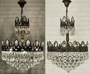 Matching Pair Of Antique Vintage Brass And Crystals French Large Chandeliers Lamp