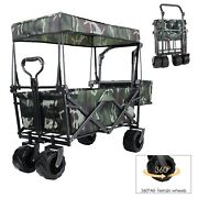 Utility Folding Collapsible Wagon Cart W/ Canopy Outdoor Grocery Trolley Buggy