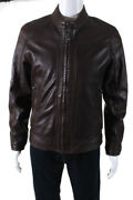 Marc New York Mens Perforated Leather Zip Up Jacket Brown Size S