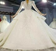 Wedding Dress Ball Gown Elegant Sequin Crystal Pearls V Neck Long Sleeve Lace Up