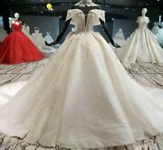 Wedding Bridal Dresses Gown Cathedral Collar Sparkly Off Shoulder Bead Appliques