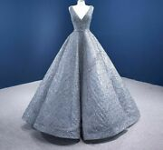 Wedding Banquet Gown Dress Silver Gray V Neck Frill Shiny Backless Organza Pleat