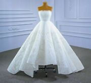 Gown Bridal Wedding Dress Tube Top Lace Beaded Pattern Frill Backless Sashes New