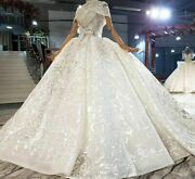 Ball Gowns Wedding Dress V Neck Crystal Beading Sequined Appliques Short Sleeves