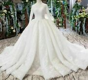 Muslim Wedding Dresses Gown Sequined Long Sleeves High Neck Lace Up Applique New
