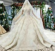 Bride Dress Wedding Gown Sweetheart With Veil Ruffle Train Off Shoulder Backless