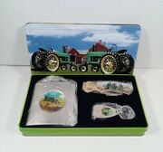 American Farmer Tractor Collector Pocket Knife/flask And Key Chain Set W/tin Box