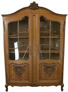 Bookcase Louis Xv Vintage French Rococo 1950 Oak Wood Paned Glass 2-door