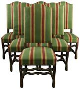 Dining Chairs French Sheepbone Set 6 Red Green Stripe Upholstery 1930 Oak