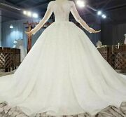 Wedding Dress Ball Gown Deep V Neck Sequined Beading Pearls Long Sleeve Applique