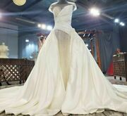 Satin Wedding Dress Champagne Sequin Pearls Appliques A Line O Neck Short Sleeve