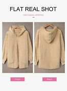 Dokotoo Womens Long Sleeve Solid Fuzzy Fleece Open Front Hooded Cardigans Jacket