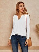 Womenand039s V Neck Waffle Knit Henley Tops Casual Long Sleeve Pullover Sweater Blous