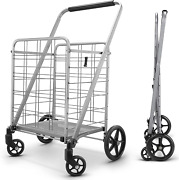Grocery Utility Flat Folding Shopping Cart With 360° Rolling
