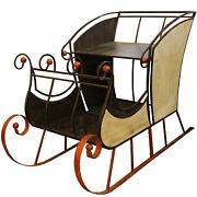 """Napco 69"""" Large Christmas Winter Forest Charcoal Black And Bronze Sleigh"""