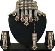 Zinc Gold-plated Jewel Set White Bollywood Traditional F999